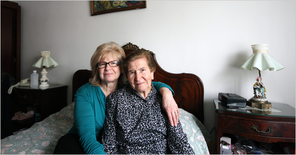 Valnea Smilović, 59, left, with her mother, 92, in Queens. They still speak Vlashki, a language spoken by the Istrians.